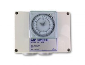 Double Outlet 10amp Air Switch Box c/w Time Clock